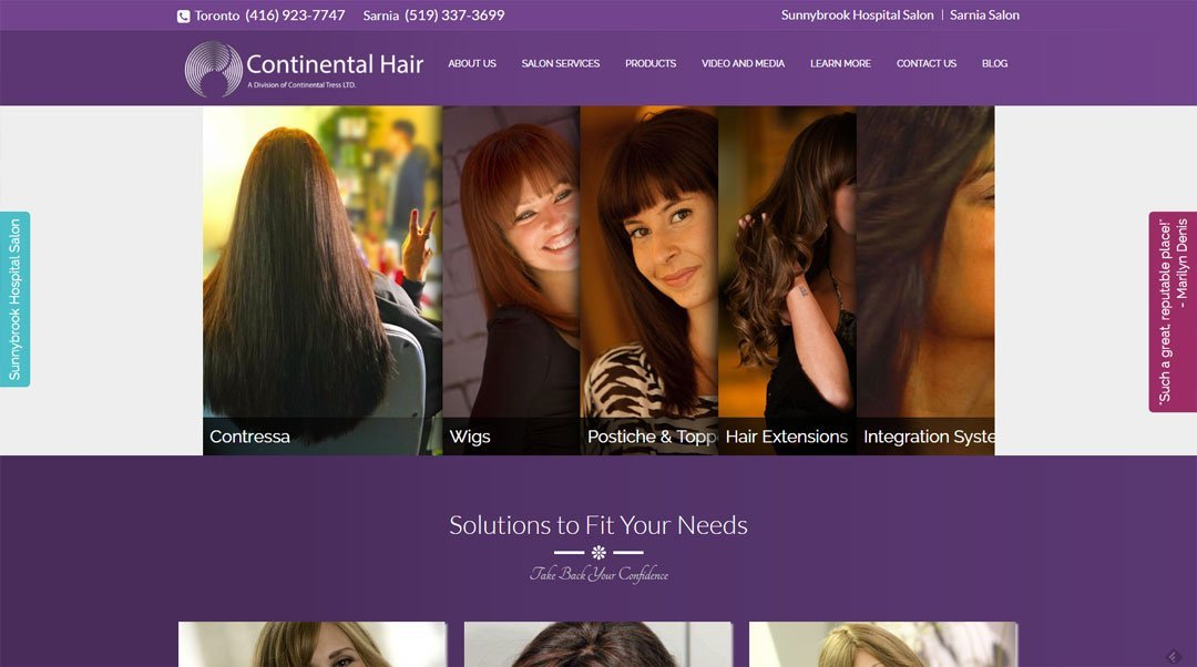 Website Portfolio: Continental Hair